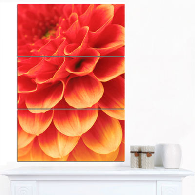 Designart Abstract Orange Flower And Petals FloralCanvas Art Print - 3 Panels