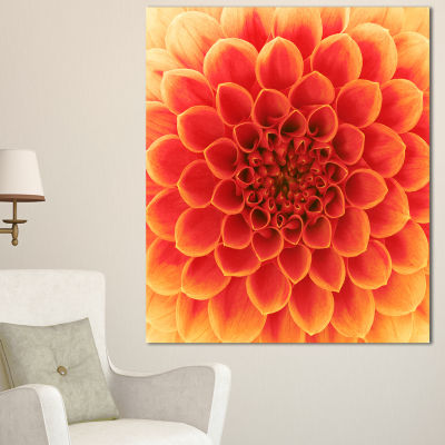 Designart Abstract Orange Flower Design Floral Canvas Art Print