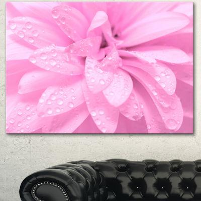 Designart Abstract Pink Flower With Petals FloralCanvas Art Print - 3 Panels