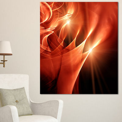Designart Abstract Warm Brown Fractal Design Contemporary Abstract Wall Art