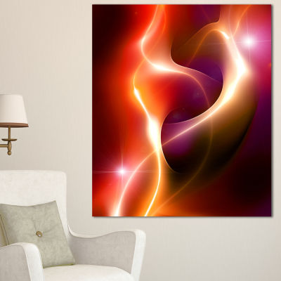 Designart Abstract Warm Red Fractal Design Large Abstract Canvas Art