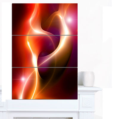 Designart Abstract Warm Red Fractal Design Large Abstract Canvas Art - 3 Panels