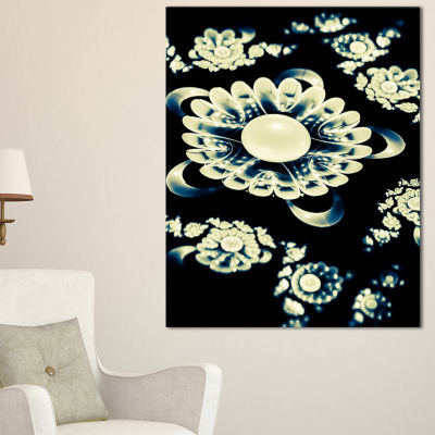 Designart Abstract White Mandala On Black Floral Canvas Art Print