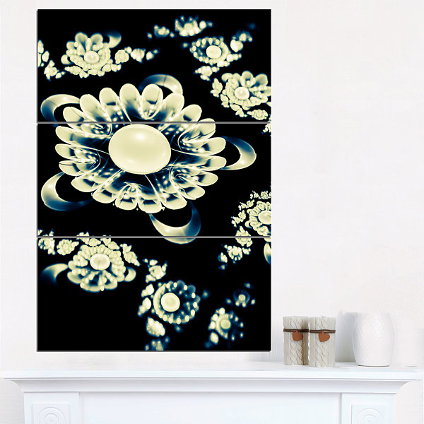 Designart Abstract White Mandala On Black Floral Triptych Canvas Art Print
