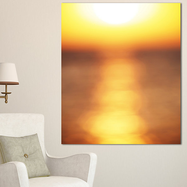 Designart Abstract Yellow Sunset Reflection Landscape Wall Art On Canvas