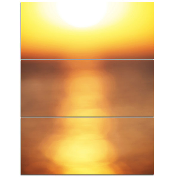 Designart Abstract Yellow Sunset Reflection Landscape Wall Art On Canvas - 3 Panels