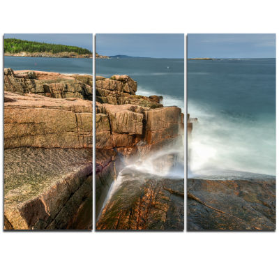 Designart Acadia National Park Coast Oversized Beach Triptych Canvas Artwork