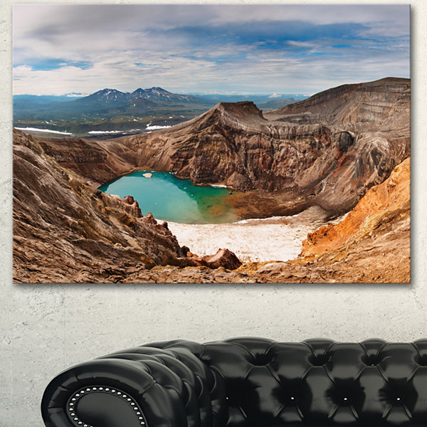 Designart Acid Lake In Volcanic Crater Landscape Canvas Wall Art