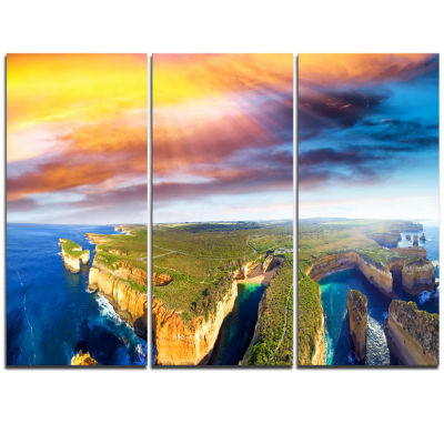 Designart Aerial View Of Great Ocean Road Large Seascape Art Triptych Canvas Print
