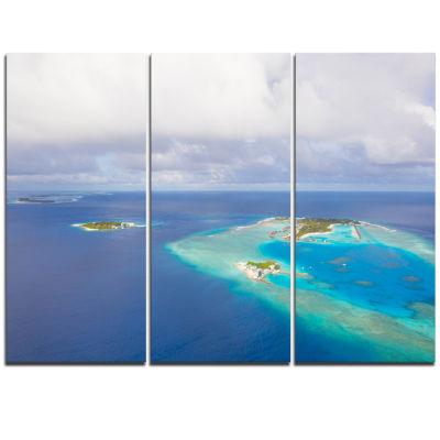 Designart Aerial View Of Maldives Island Modern Seascape Triptych Canvas Artwork