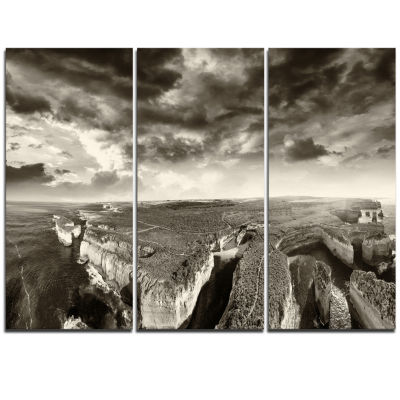 Designart Aerial View Of Ocean Road Black Large Seascape Art Triptych Canvas Print