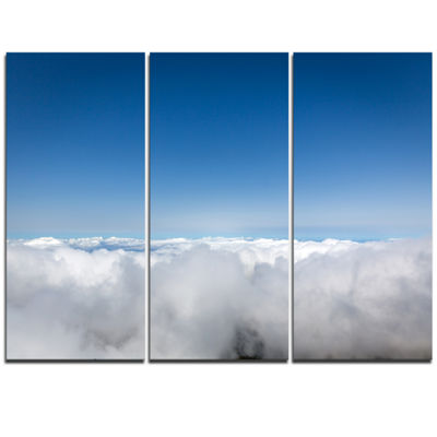 Designart Aerial View Of Sky Over Clouds Contemporary Landscape Triptych Canvas Art