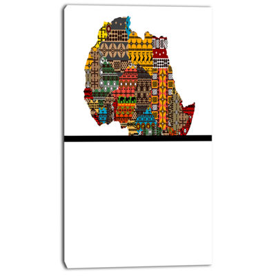 Designart Africa Map With Ethnic Textures AbstractCanvas Artwork