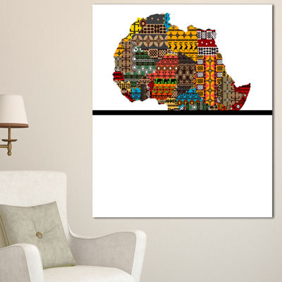 Designart Africa Map With Ethnic Textures AbstractCanvas Artwork - 3 Panels