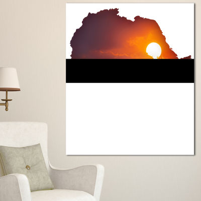 Designart Africa Map With Lion At Sunset AbstractCanvas Artwork