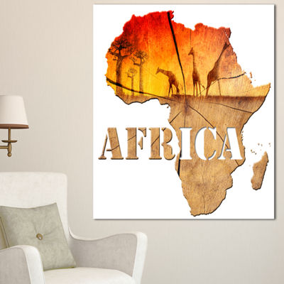 Designart Africa Map Wooden Illustration AbstractCanvas Artwork - 3 Panels