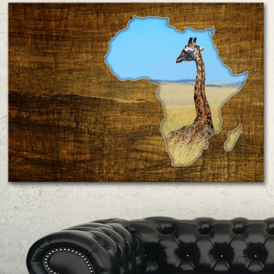 Designart Africa Wildlife Map Design Abstract Canvas Artwork