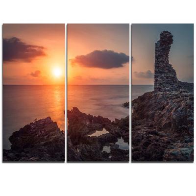 Designart African Ancient Ruins At Seashore Oversized Beach Triptych Canvas Artwork