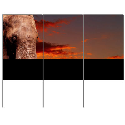 Designart African Elephant With Africans AfricanCanvas Art Print - 3 Panels