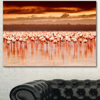 Designart African Flamingos View At Sunset FloralCanvas Art Print - 3 Panels