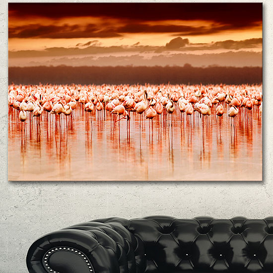 Designart African Flamingos View At Sunset Floralcanvas Art Print 3 Panels