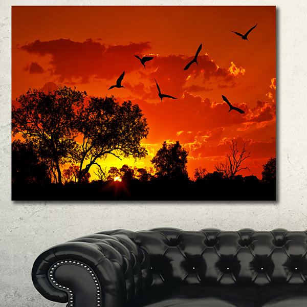 Designart African Landscape With Warm Sunset African Landscape Canvas Art Print
