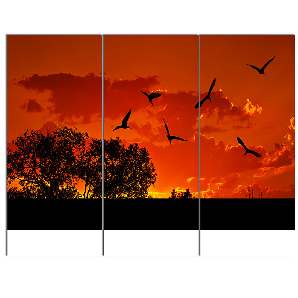 Designart African Landscape With Warm Sunset African Landscape Canvas Art Print - 3 Panels