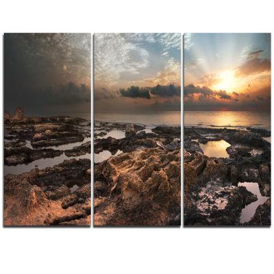 Designart African Rocky Coast Panorama OversizedBeach Triptych Canvas Artwork