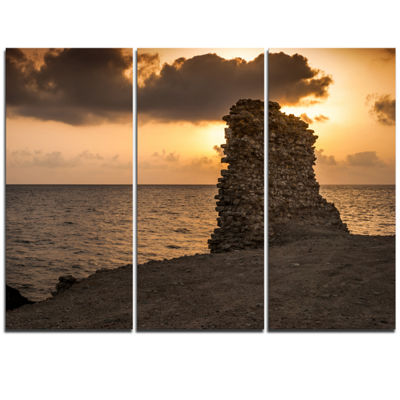 Designart African Ruins At Sunset Seashore Extra Large Seashore Triptych Canvas Art