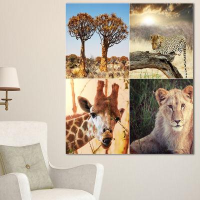 Designart African Safari Wildlife Collage AfricanLandscape Canvas Art Print