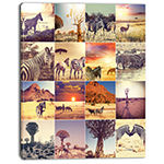 Designart African Wildlife And Nature Collage African Landscape Canvas Art Print