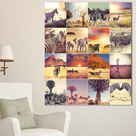 Designart African Wildlife And Nature Collage African Landscape Canvas Art Print, One Size , White