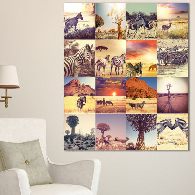 Designart African Wildlife And Nature Collage African Landscape Canvas Art Print - 3 Panels