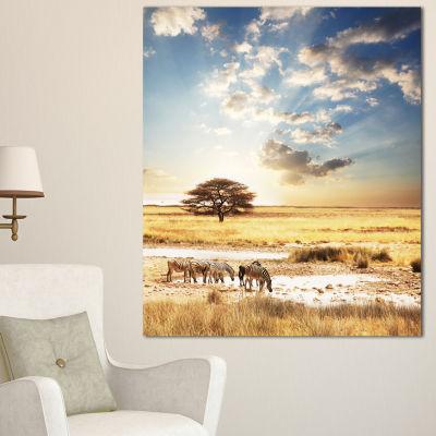 Designart African Zebras Drinking Water Extra Large African Canvas Art Print - 3 Panels