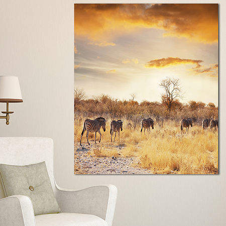 Designart African Zebras Walking In Row African Landscape Canvas Art Print, One Size , Brown