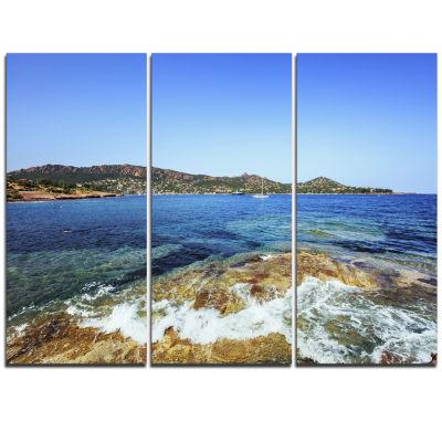 Designart Agay Bay In Esterel Rocks Beach Oversized Beach Triptych Canvas Artwork