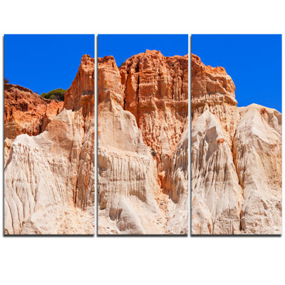 Designart Algarve Beach In Portugal Landscape Triptych Canvas Art Print