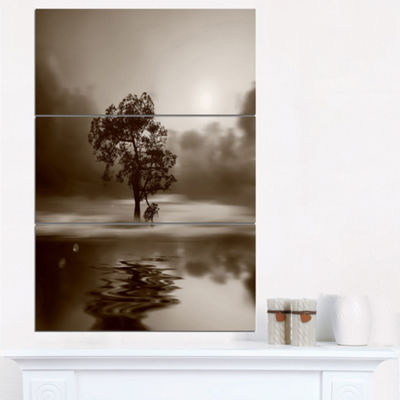 Designart Alone Tree On Island In Sepia Extra Large Wall Art Landscape