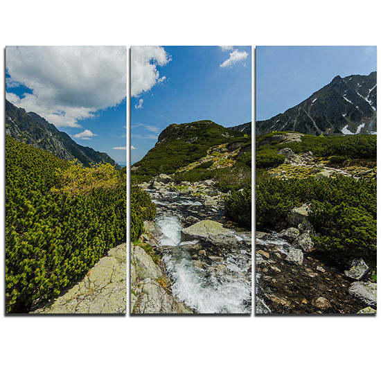 Designart Alpine Stream In High Mountains Landscape Triptych Canvas Art Print