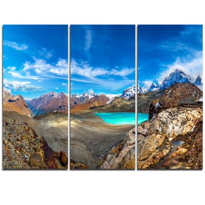Designart Alps Mountains In Swiss Panorama Extra Large Seashore Triptych Canvas Art