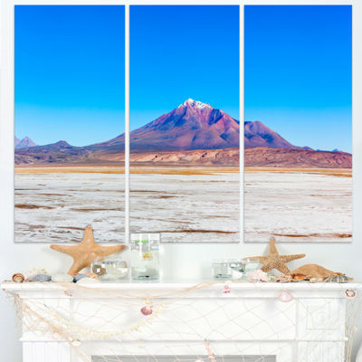 Designart Altiplano Near Uyuni Panorama Modern Seascape Triptych Canvas Artwork