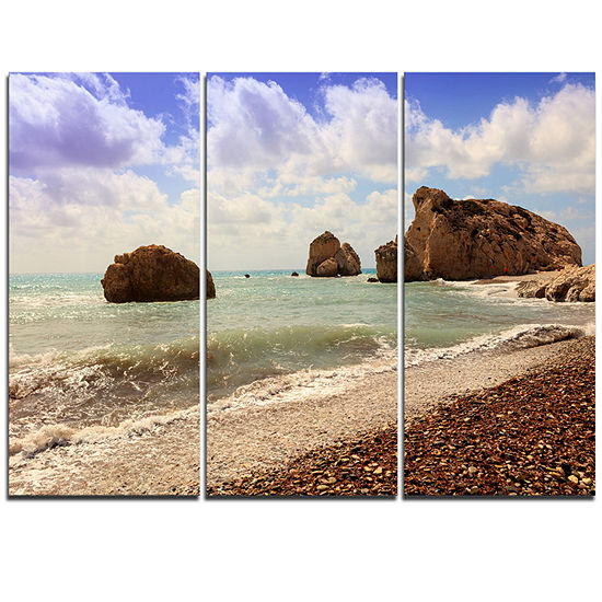 Designart Amazing Aphrodite S Rock In Cyprus ExtraLarge Seascape Art Triptych Canvas