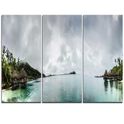 Designart Amazing Bora Bora Panoramic View Large Seascape Art Triptych Canvas Print