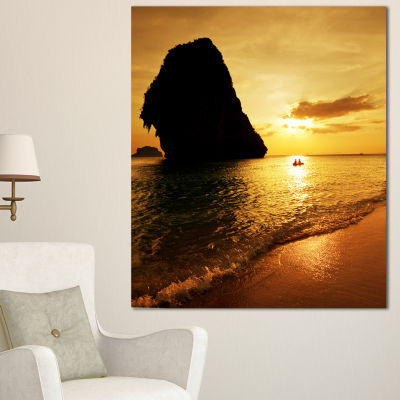 Designart Amazing Evening Tropical Beach SeashoreCanvas Art Print - 3 Panels