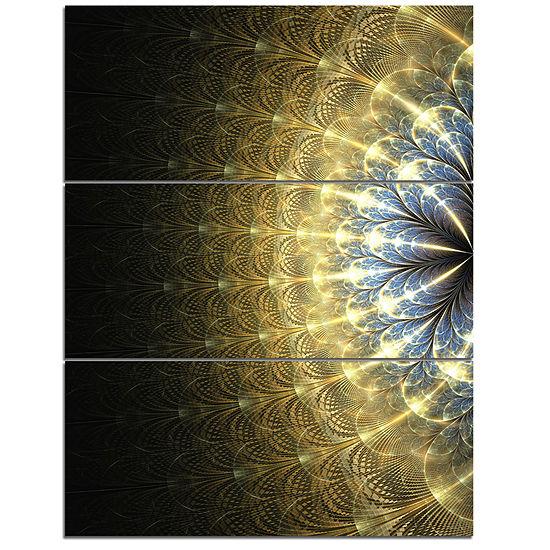 Designart Amazing Gold Symmetrical Fractal FlowerFloral Triptych Canvas Art Print