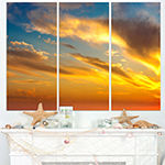Designart Amazing Golden Sky At Sunset Modern Seashore Triptych Canvas Art