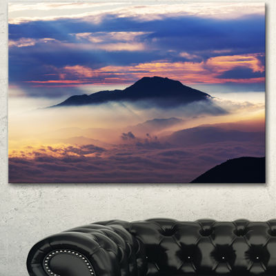 Designart Amazing Java Mountain In Fog Oversized Landscape Canvas Art