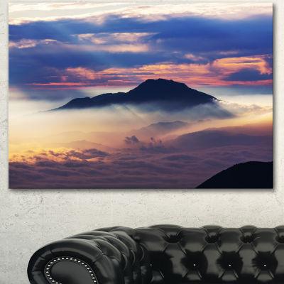 Designart Amazing Java Mountain In Fog Oversized Landscape Canvas Art - 3 Panels