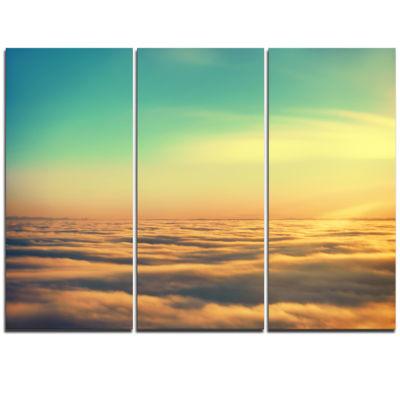 Designart Amazing Plane View Of Sky Oversized Beach Triptych Canvas Artwork