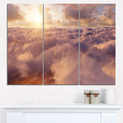 Designart Amazing Sky Above Clouds Contemporary Landscape Triptych Canvas Art